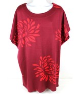Redoute Creation Womens Sz 1X Red Floral Tunic Knit Top - $14.10