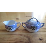 Vintage Noritake lusterware hand painted creamer and sugar bowl, blue lu... - $40.00