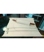 VTG 1950's Foley Pastry Frame Stay-Flat Cloth w/ Primitive Rolling Pin &... - $74.05