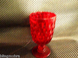 Fenton Thumprint Red Ruby Depression Glass Goblet 13 oz - $19.99