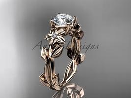 Leaf and Flower Engagement Ring 14k rose gold modern engagement ring ADLR424 - $695.00