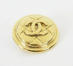 Auth Vintage CHANEL Goldtone Round Quilted CC Logo Brooch Pin w/ Box #29830 - $275.00