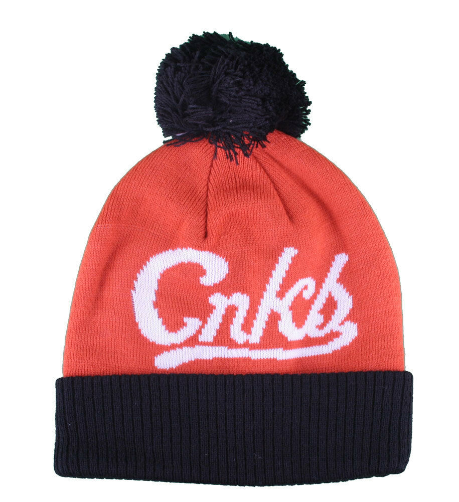 Crooks & Castles Collegiate Orange Black Pom Beanie Winter Hat I1270801 NWT