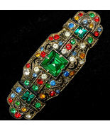 Vintage Art Deco Multi Colored Rhinestone Bar B... - $42.99