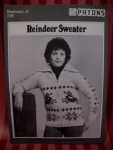 Vintage Reindeer Cardigan Sweater Knitting Pattern Beehive - $7.99