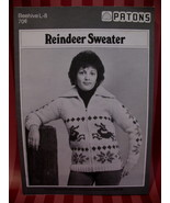 Vintage Reindeer Cardigan Sweater Knitting Pattern Beehive - $7.99