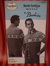 Vintage Men's Nordic Sweater Knitting Pattern Beehive - $7.99