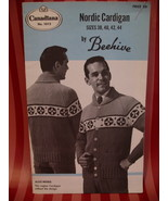 Vintage Men's Nordic Sweater Knitting Pattern Beehive - $7.99