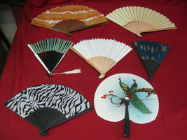 Large Collection of 7 Assorted Antique Vintage Chinese Decorative Fans - $49.49