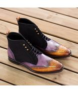 Handmade Two Tone Patina Ankle High Boots for Men Custom Made Boots for Men - $159.99+
