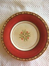 1 Red Global Market Dinner Plate Floral Fitz & Floyd Embossed Bird - $13.81