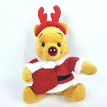 "Disney Store Winnie the Pooh 8"" Plush Santa Holiday Musical Plush Nose L... - $20.55"