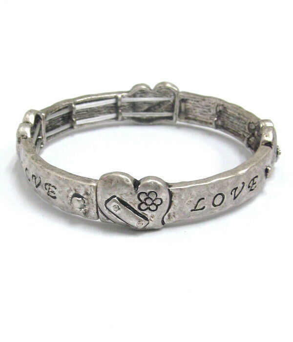 Primary image for LOVE Heart Hammered Inspirational Bangle Bracelet Antique Silver NEW