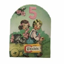 Vintage 1940s Adams Chiclets Chewing Gum Girl Birthday Card Greeting 5 Y... - $13.96