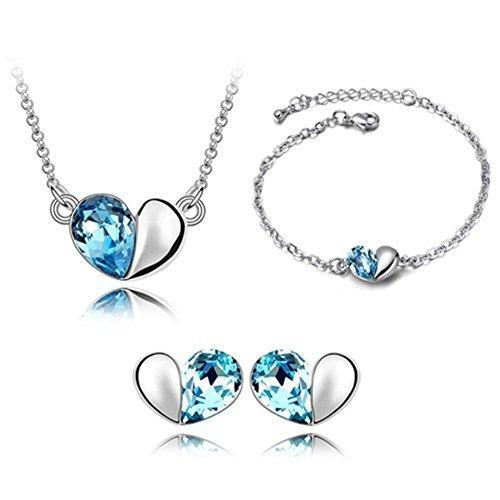 SHIP BY USPS: Btime Sweet Love Heart Necklace Earrings Bracelet Jewelry Set Crys