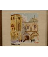 Original Miniature Watercolor Jerusalem The Church of the Holy Sepulchre  - $4.99
