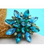 Vintage Monet Rhinestone Brooch Pin Tiered Flower Blue Green - $34.95