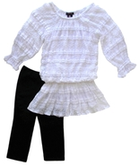 My Michelle Size S Girls White Lace Tunic Top and Leggings Two-Piece Set - $15.99