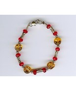 Handmade Handcrafted Beaded Bracelet Jewelry Red Gold Glass Beads FSU Se... - $2.50