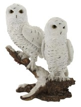 Things2Die4 Pair of Snow Owls on a Branch Statue - $49.94