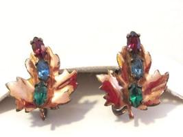 Vintage sterling silver 925 rhinestone Leaf screw back earrings - $18.00