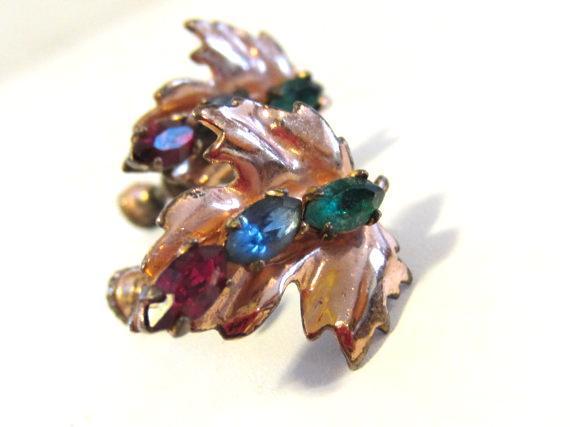 Vintage sterling silver 925 rhinestone Leaf screw back earrings