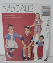 McCall's Sewing Pattern 6514 Toddler VTG 1993 Romper Skirt Pant Short Si... - $5.89