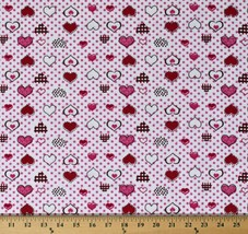 Flannel Hearts Polka Dots Red Pink White Valentine's Day Fabric Print D277.08 - $7.99