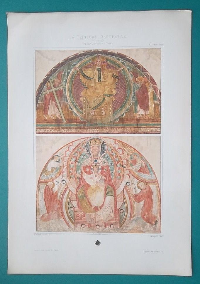 CHURCH PAINTINGS  France 12th C Virgin Throne Christ  - 1888 COLOR Litho Print
