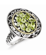 ANTIQUED STERLING SILVER & 14K GOLD ACCENT OPEN FILIGREE PERIDOT RING - ... - $111.32