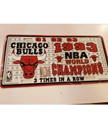 Chicago Bulls 1993 NBA World Champions License Plate 3 Times in a Row NE... - $15.83