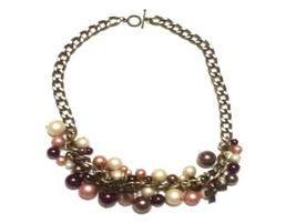 Antique Gold Chain Necklace with Pearl Fringe - $15.00
