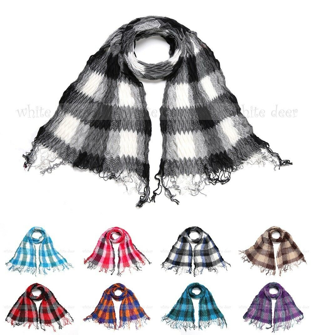 Primary image for Winkle Ruffle Plaids Checks Wave Fluffy Scarf Soft Fashion Wrap Multi Color