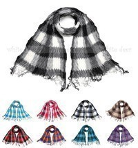 Winkle Ruffle Plaids Checks Wave Fluffy Scarf Soft Fashion Wrap Multi Color - $8.45