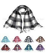 Winkle Ruffle Plaids Checks Wave Fluffy Scarf Soft Fashion Wrap Multi Color - $8.95