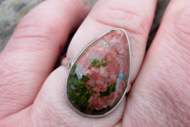 Adorable Unakite Ring Size 7.5 US, 925 Silver - $26.00