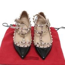 Auth Valentino Garvani Black Patent Leather Rockstud Ballerina Flats Shoes US 7 - $860.95