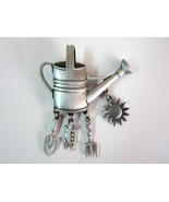 Vintage JJ Jonette Jewelry Garden Watering Can with Dangling Tools Pin B... - $8.99