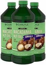 Macadamia Nut Oil | 3 x 16 oz Bottles | Premium Cold Pressed | 100% Pure Virgin
