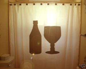 SHOWER CURTAIN Bottle Glass beer goblet wine drink pint