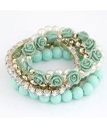 Bohemian Fashion Candy Color Pearl Rose Flower Multilayer Beads Stretch ... - $20.90
