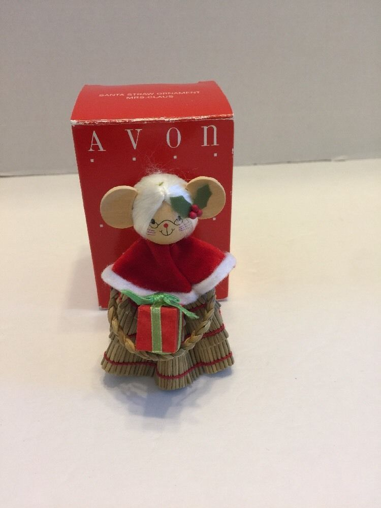 Avon Santa Straw Ornament Mrs Claus Country Mouse