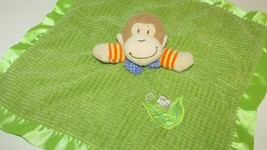 Mary Meyer Baby green tan monkey security blanket orange yellow stripes blue bow - $6.92