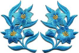 Blue lilies pair flowers floral bouquet boho applique iron-on patch new ... - $3.75