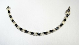 "Ladies Diamond & Blue Quartz Sterling Silver ""XO"" Link Bracelet 7.5"" C2368 - $33.77"
