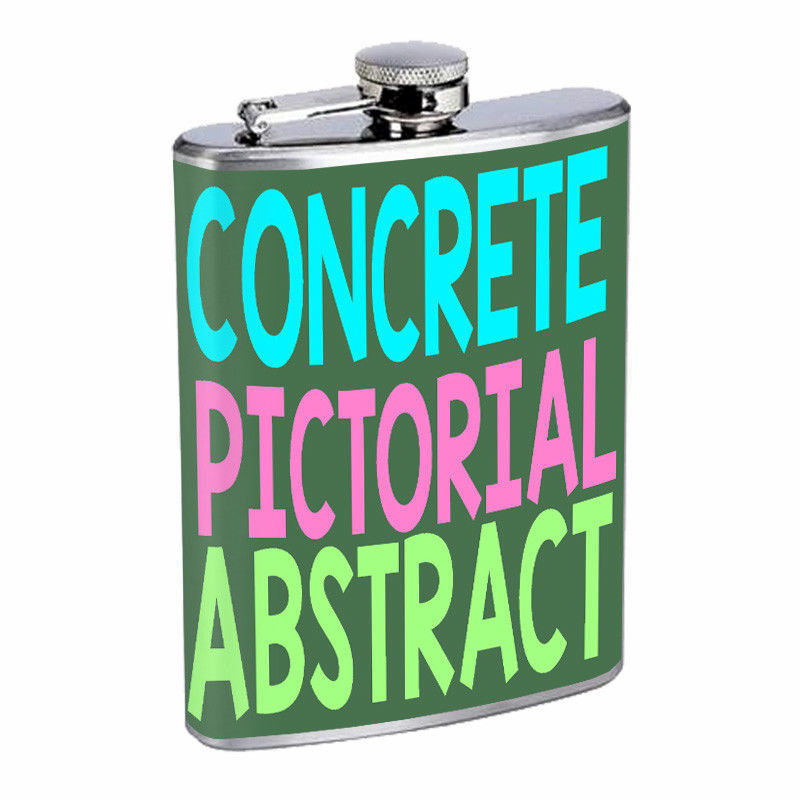 Concrete Pictorial Abstract Em1 Flask 8oz Stainless Steel Hip Drinking Whiskey