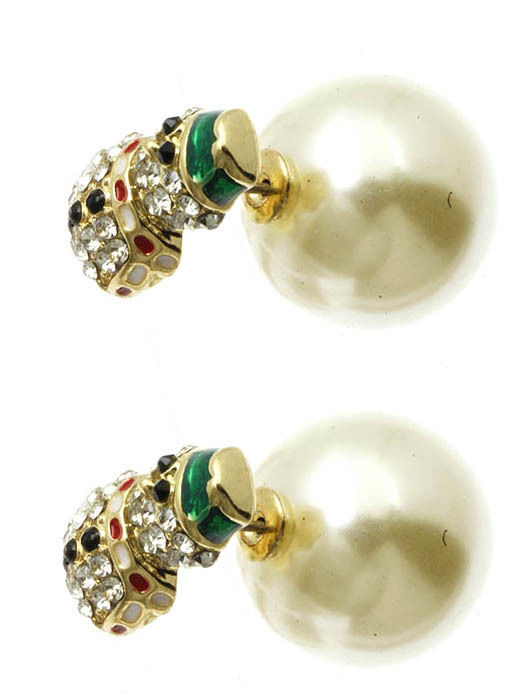 Bling Crystals Snowman Christmas Double Sided Ball Earrings Cream