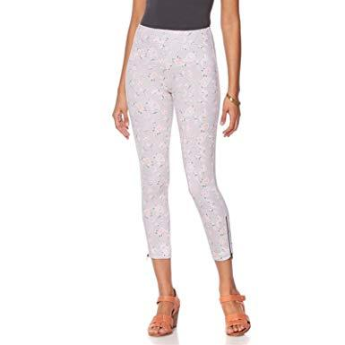 Primary image for NWT Lysse 528-363 Womens' Pink Floral Print Cropped Stretch Denim Leggings