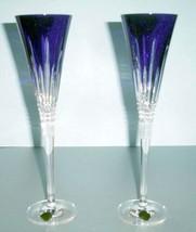 Waterford Crystal LISMORE Diamond Cobalt Blue Champagne Flute Pair #4002... - $169.90