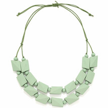 Pastel green bead necklace made from a lightweight wood jewellery design - $23.07
